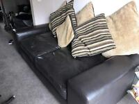 Brown large leather 2 seater settee