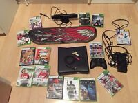 Xbox 360, 2 controllers, Xbox Kinect, Tony Hawk Board and 14 Games