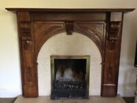 Wooden mantlepiece with marble surround