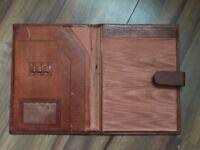 Vintage brown leather document case / holder