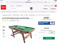FOLD ABLE POOL TABLE NEVER OPENED RRP 119.99