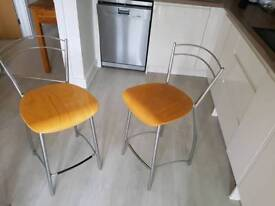 Two pine and stainless steel high chairs