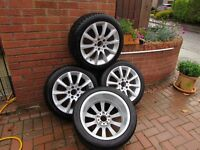 """Mercedes SLK 17"""" Alloy wheels with Cold Weather Tyres only used for 4 months."""