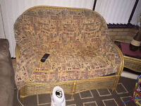 4 piece rattan furniture, excellent condition. sofas with stool and table with glass top