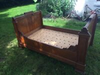 """Queen sized bed - mahogany - French Bateau de Lit """"sleigh bed"""" - with mattress"""