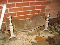 """old dog grate fire grate 24"""" wide heavy iron with brass fronts £45 o.n.o."""