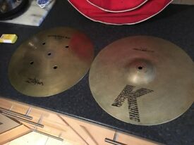 A set of zildzian cymbals for Sale, includes Percussion carry bag