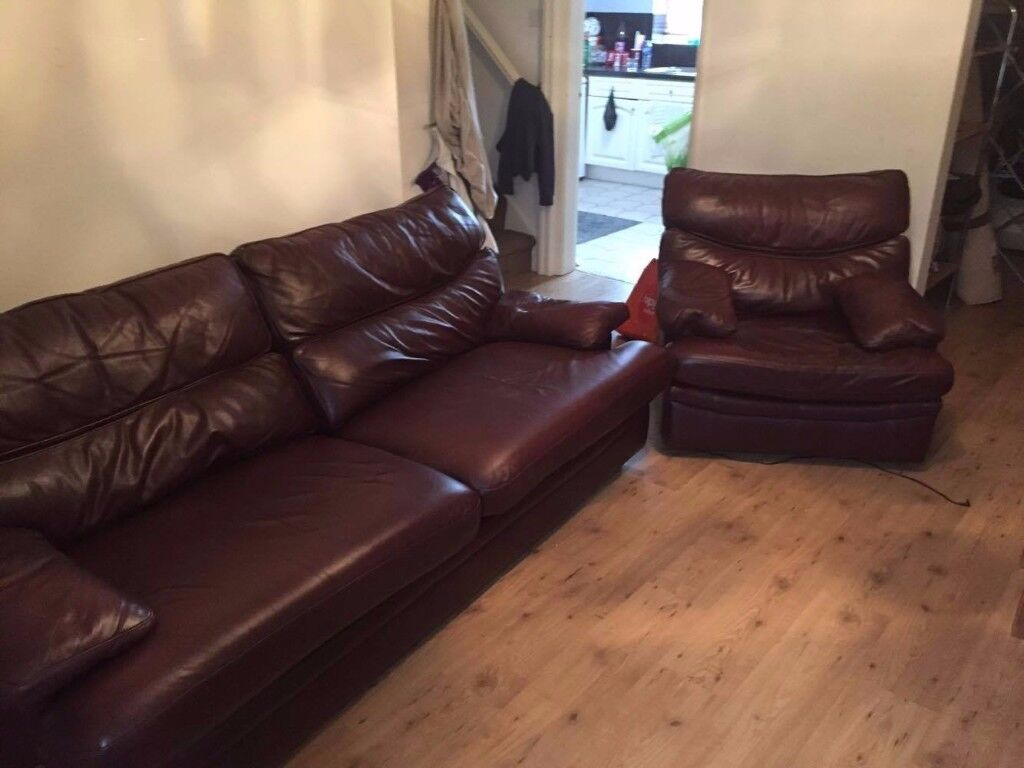 Leather 3x seater and 1x chair *G plan* Cost £2000 Great condition .
