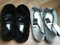 2 pairs of slippers, 1 pair NEXT never worn, new with tags, other pair worn twice, size 3