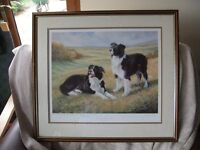 FRAMED COLLIE DOGS PRINT DOGS OWNED BY PHIL DRABBLE BY ARTIST JOHN L BAKER SIGNED IN GOOD CONDITION