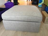 M&S Blake Storage Footstool | Corran / Natural colour | Wooden Feet | Immaculate | London (TR120)