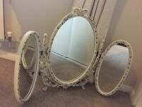 White and Gold leaf adjustable dressing table Oval Triple Mirror
