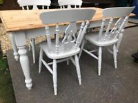 REDUCED - Amazing Shabby Chic Farmhouse Pine Table With Cutlery Drawer and 4 Chairs
