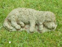 Vintage Well Weathered Cast Stone Sleeping Spaniel Puppy Garden Ornament