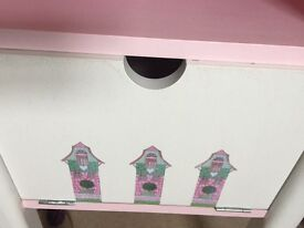 Girls bedside cabinet top done in decoupage front back and sides in chalk paint with a wax finish