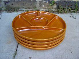 Four Japanese Ceramic Plates Retro Vintage Tableware