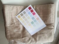 """NEW LAURA ASHLEY 100% Pure Dupion Silk Lined Curtains Huge 90""""x90"""" Long Bamboo Cream Interlined Pair"""