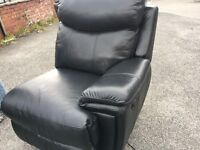 Ex Display Black Leather Electric Recliner Seat/Sofa