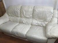 3 piece leather sofa suite (cream)