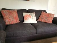 3 seater Harveys brown fabric sofa, large armchair and foot/ stool