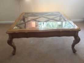 Glass topped wooden coffee table, well used and well loved! 103cm square, 43cm tall.
