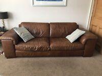 Two Brown leather Natuzzi Three Seat Sofas -£300 ono