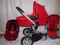 Quinny buzz 3 Red Travel System ,Pushchair, Carrycot, Maxi cosi cabriofix Car Seat