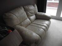 Cream leather sofa & footstool