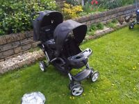 Graco duo double buggy complete with rain cover and front apron