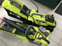 RYOBI 18v Cordless lawnmower & Hedge trimmer.