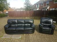 3+1 black leather sofa ( armchair is a recliner)