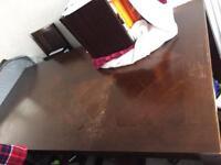 Table & 6 Chairs Hardwood Teak & Leather