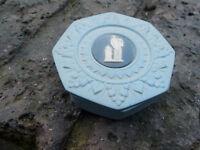 rare wedgewood 2 colour pin box , dark and light blue