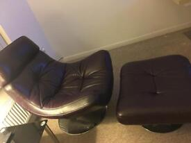 Furniture Village Swivel Chair and Foot Stool