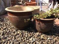 2 glazed brown terracotta garden pots large and medium