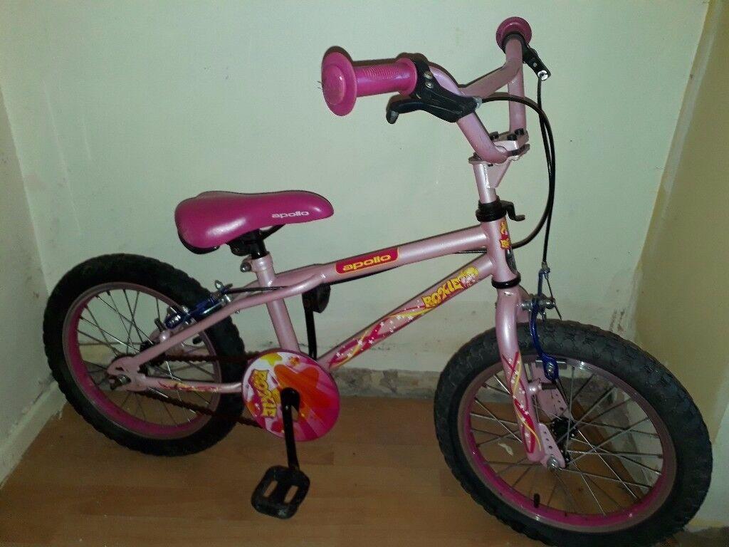 "girls apollo roxie 16"" wheel bike"
