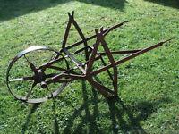 Old Vintage Iron Wheel Barrow Garden Display