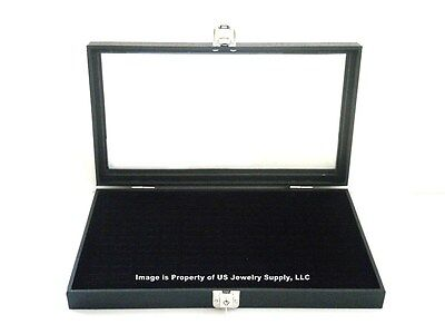 Key Lock Locking Glass Top Lid 72 Ring Black Jewelry Display Box Storage Case