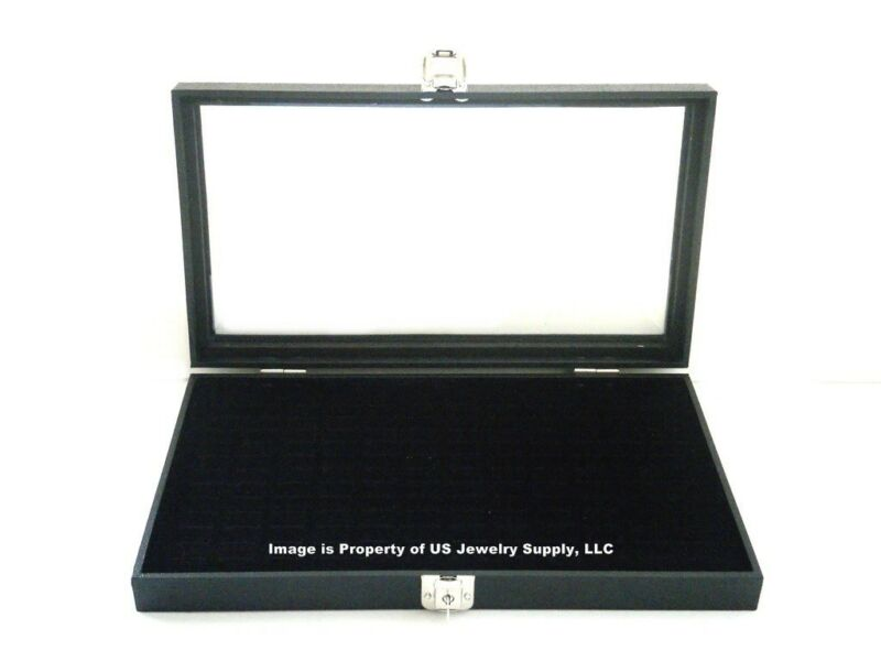 Key Lock Locking Glass Top Lid 72 Ring Black Jewelry Display Box Storage Case