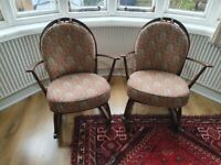 Vintage Ercol Windsor rocking chair model 470 with cushions