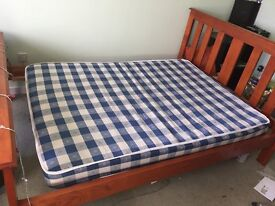 Wooden Bedframe & Mattress (Can be sold separately)