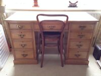 Vintage knee hole desk and chair