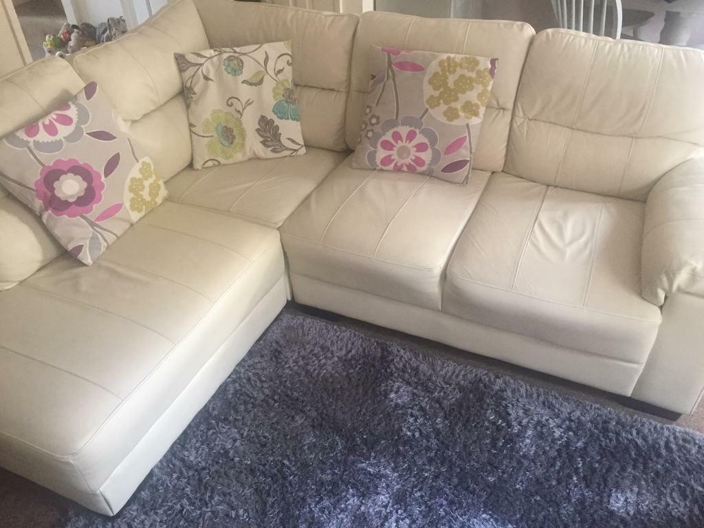 Sofa Cream Leather Corner In