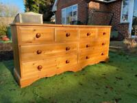 Solid chunky pine large chest of drawers. Dovetail Joints. Possible delivery