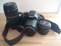 Canon EOS 550D bundle. Bags, SD card, filters as well as camera and lenses.