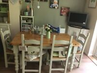 Wooden/painted kitchen/dining table and chairs