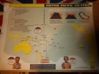Vintage 1950's Educational Wall Poster Empire Information Project - British Pacific Islands