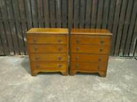 Pair of vintage lebus 4 drawer chest of drawers