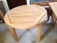 Vancouver Oak Round Extending Dining Table. Ex Display. Under 1/2 Price