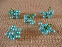 5 X Light Blue Glass Mini Bauble Cluster Christmas Xmas Tree Decorations / Ornaments